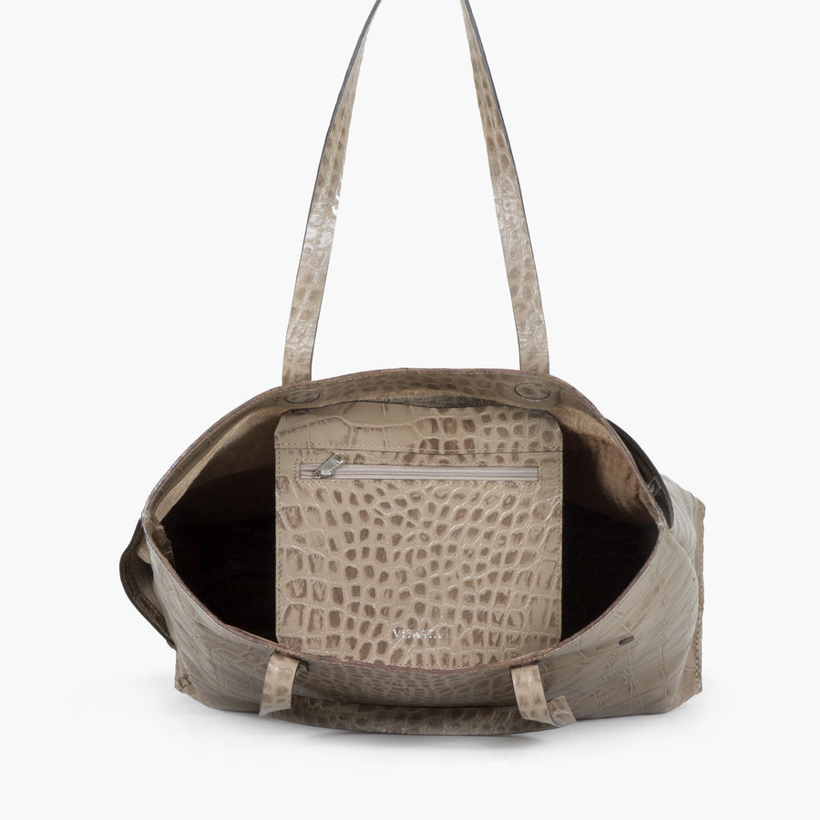 Asymmteric Wrap Tote-Croco beige
