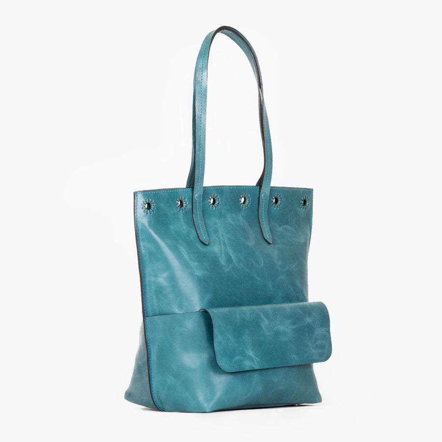 Leather Midi Tote, Indigo Blue