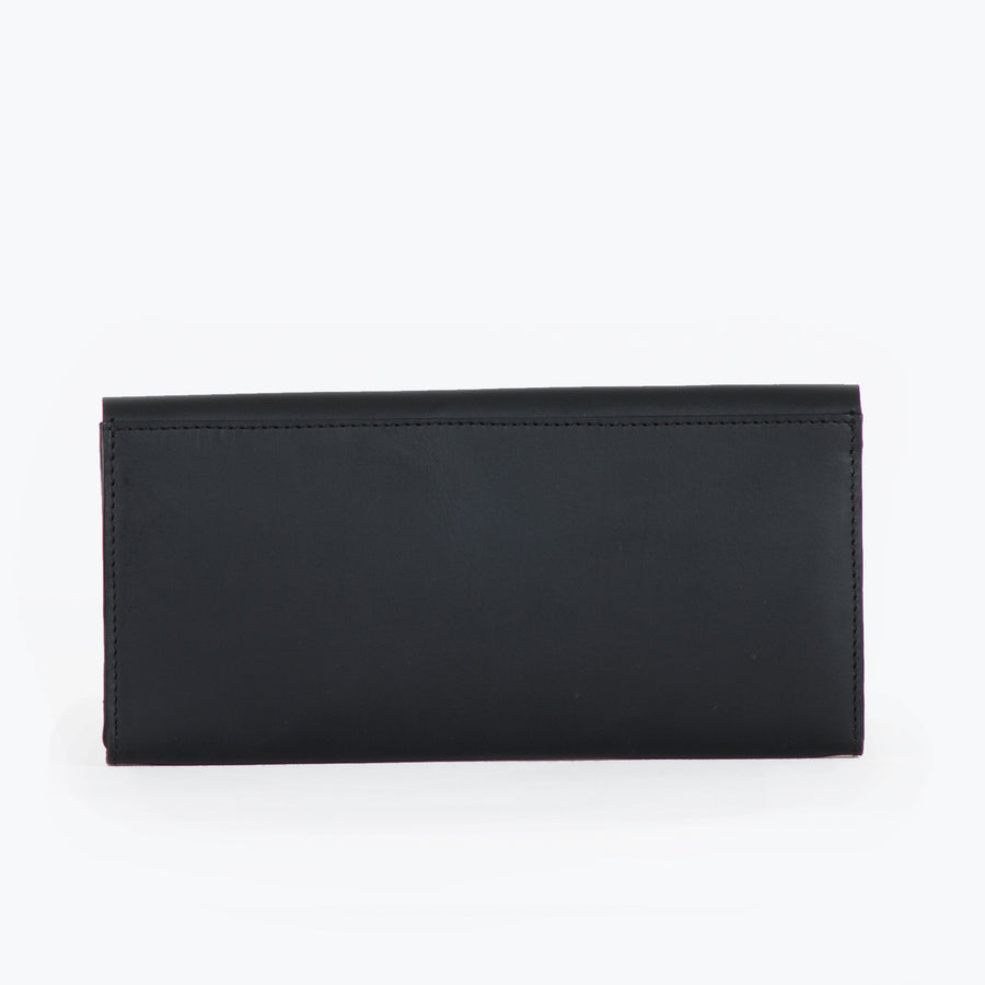 Lara slim leather wallet-Black
