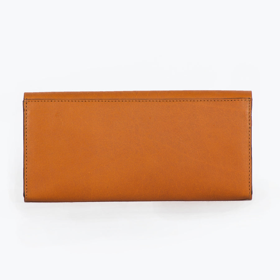 Lara slim leather wallet- Tan