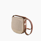 Leather Mini Saddle Bag, Nude