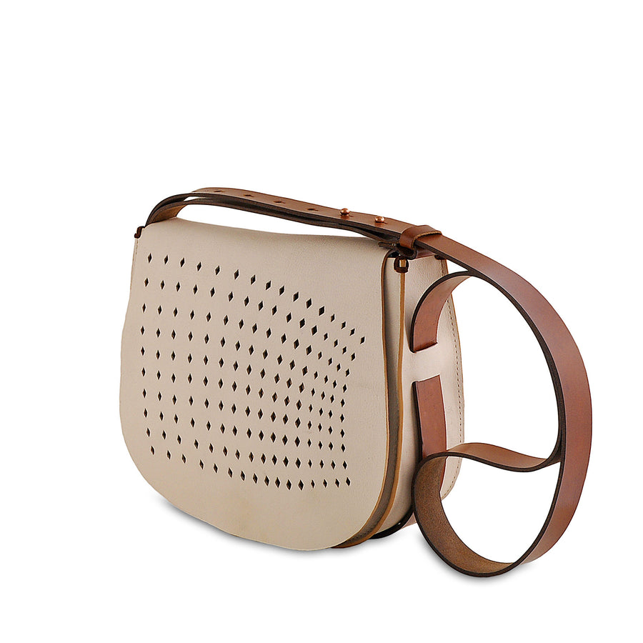 Leather Saddle Bag, Nude