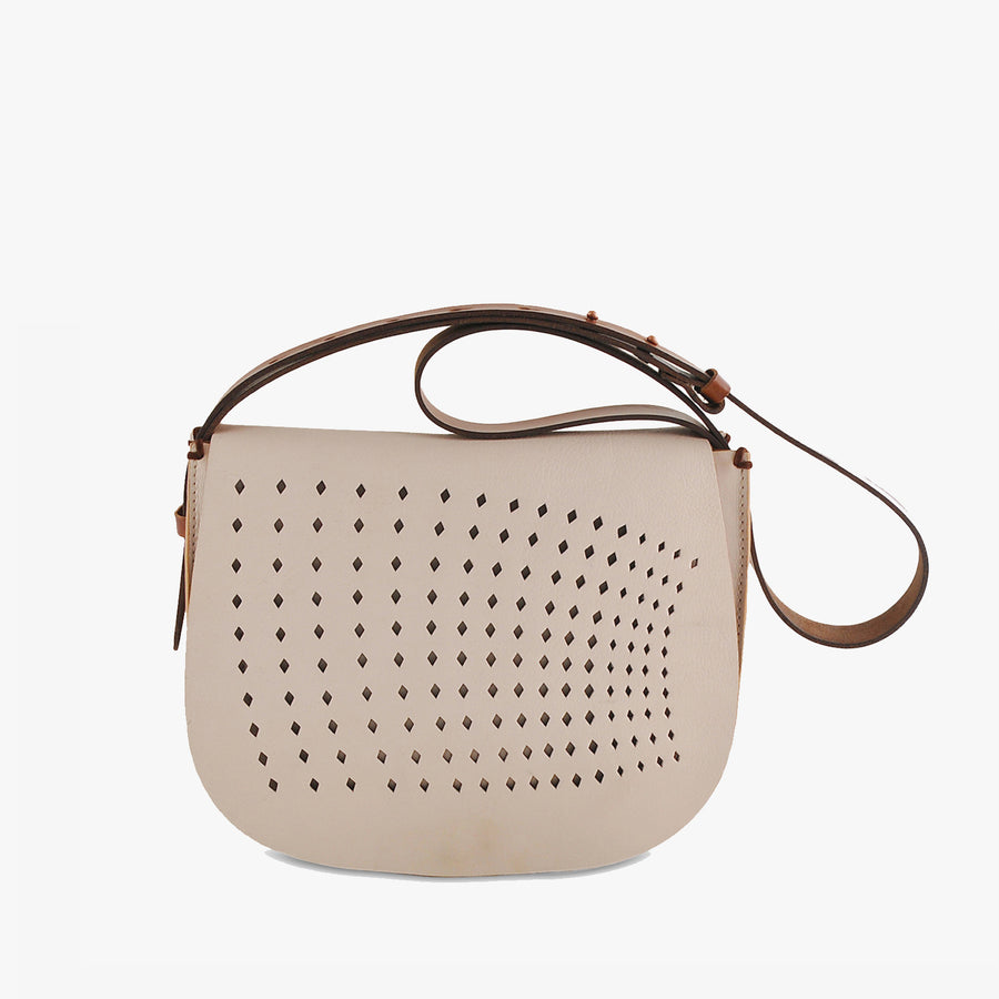 Punched Saddle bag in Nude