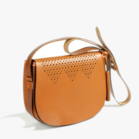 Punched Mini Saddle bag in Tan