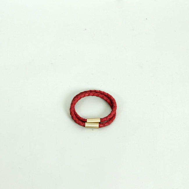 Leather Cord Bracelet, Red