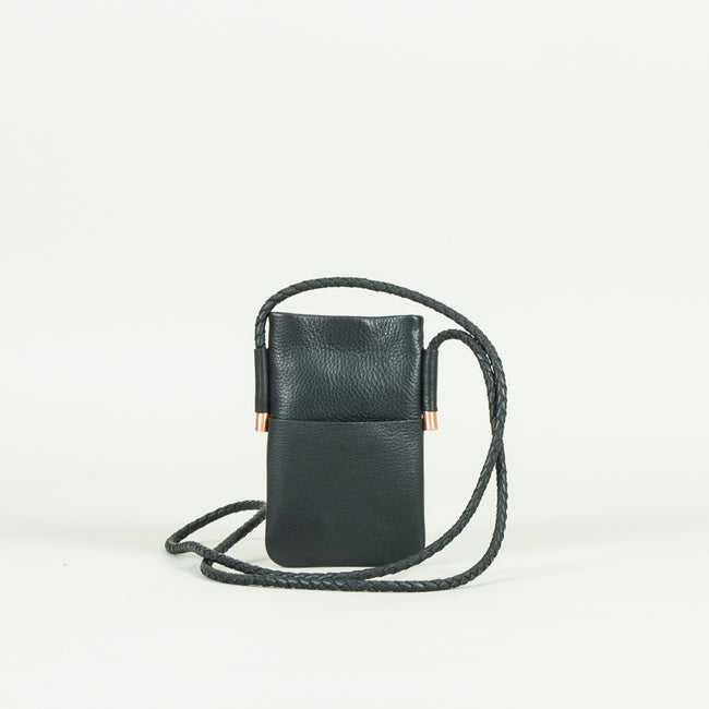 Leather Mobile Holder, Black