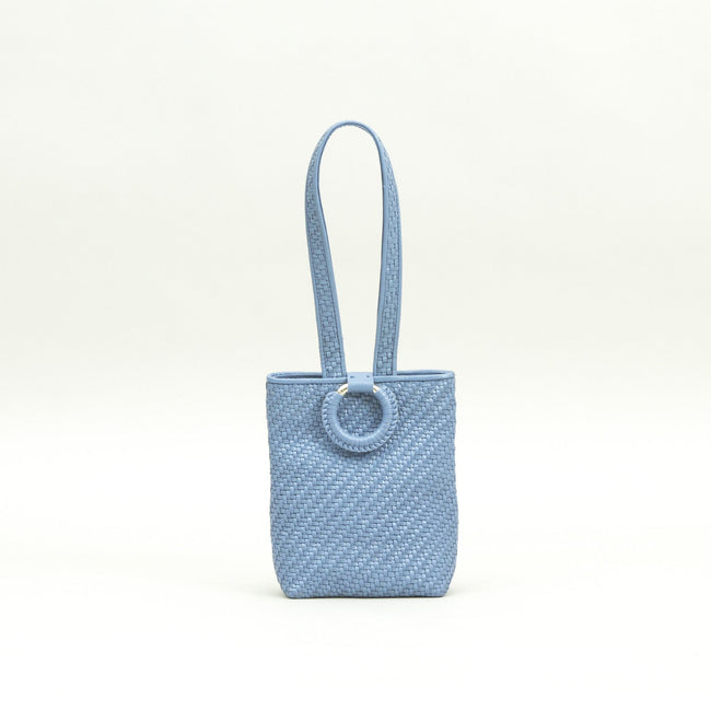 Bette Woven Clutch, Sky Blue