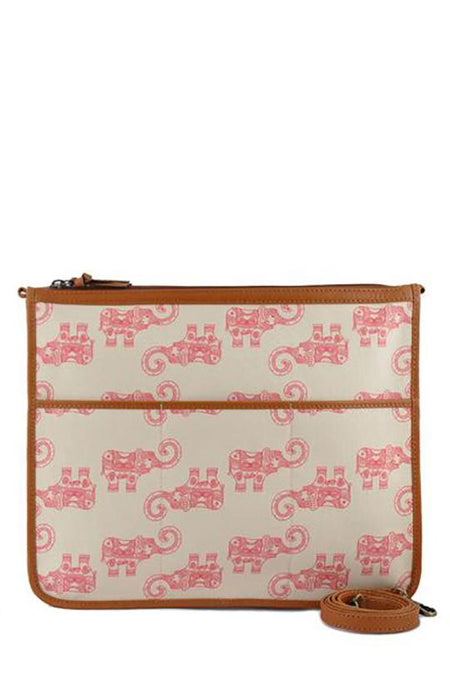 Canvas Crossbody Bag, Pink Elephant
