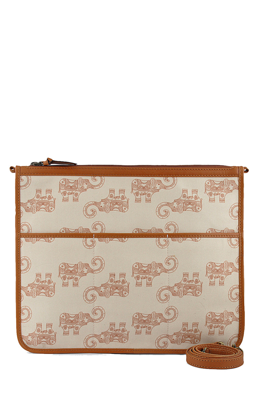 Canvas Crossbody Bag, Tan Elephant