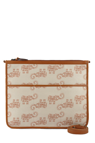 Tan elephant canvas and leather crossbody bag