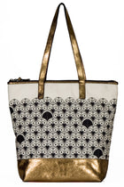 Tote bag in canvas and distressed gold leather