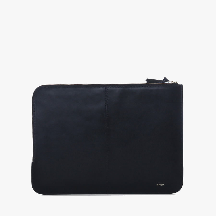 Leather laptop sleeve (13 inch) (Black)