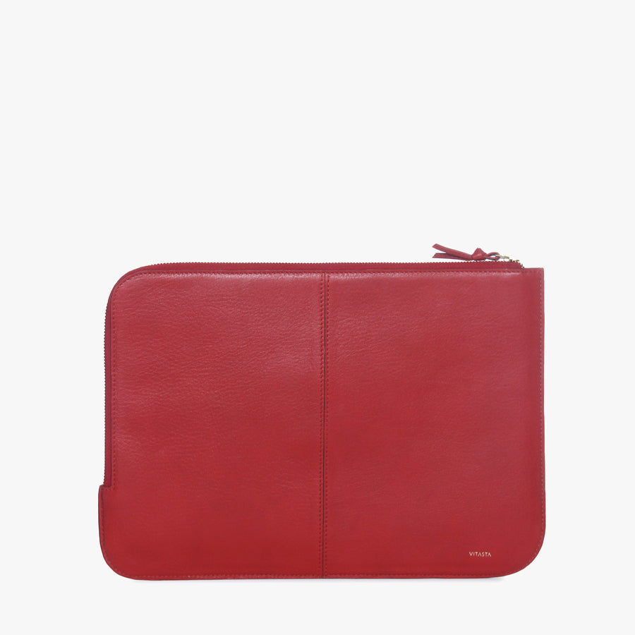 Leather laptop sleeve (13 inch) (Red)