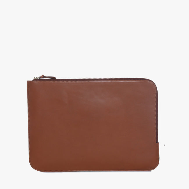 Unisex leather laptop sleeve (15 inch) (Tan)