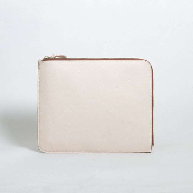 Unisex leather IPAD zip case, Beige