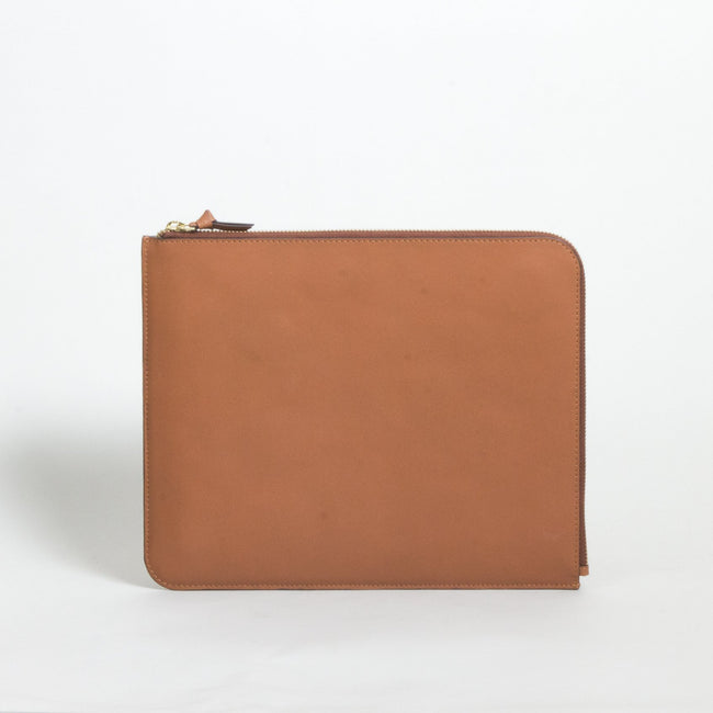 Unisex leather IPAD zip case, Tan