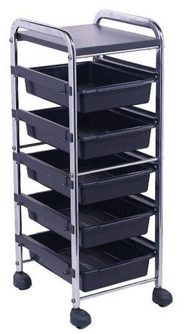 Trolley 5 Drawer Black