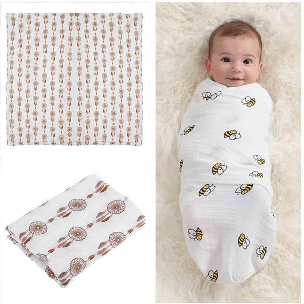 Newborn Baby Blanket Swaddle Supplies Muslin Soft Cartoon Gauze Bedding Bath Towel Wraps Quilt for Babies Children Kids