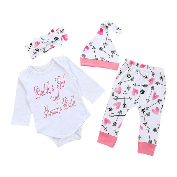 Newborn Infant Baby Girl Clothes Letter Romper Top+Pants+Hat Outfits Clothes Set