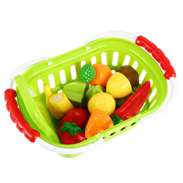 13-Piece Plastic Cutting Fruits and Vegetables Set with Basket Play Food Set for Pretend Play