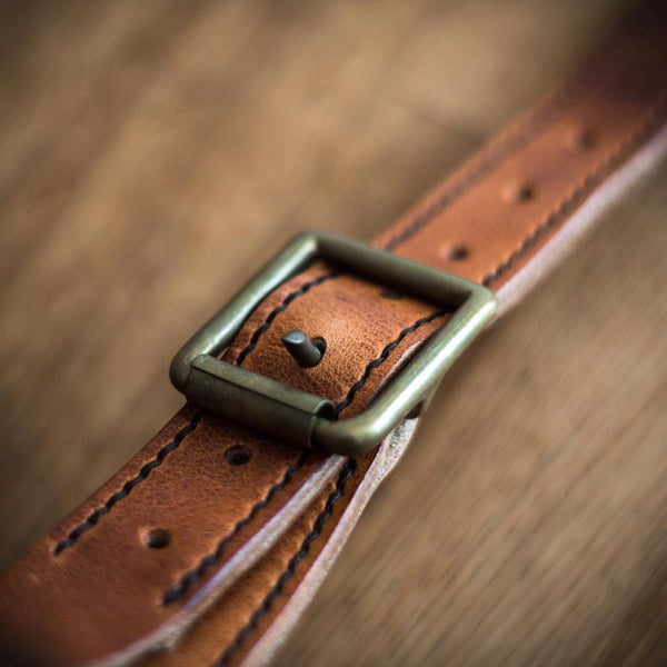 colville leather belt with brass buckle