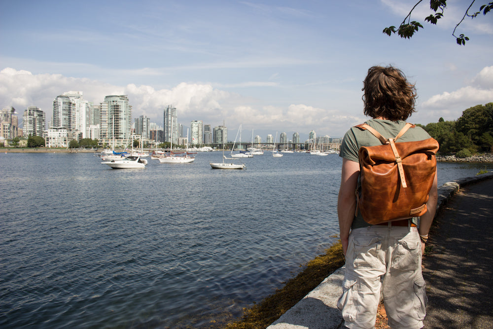 Sight seeing in Vancouver with leather rolltop backpack