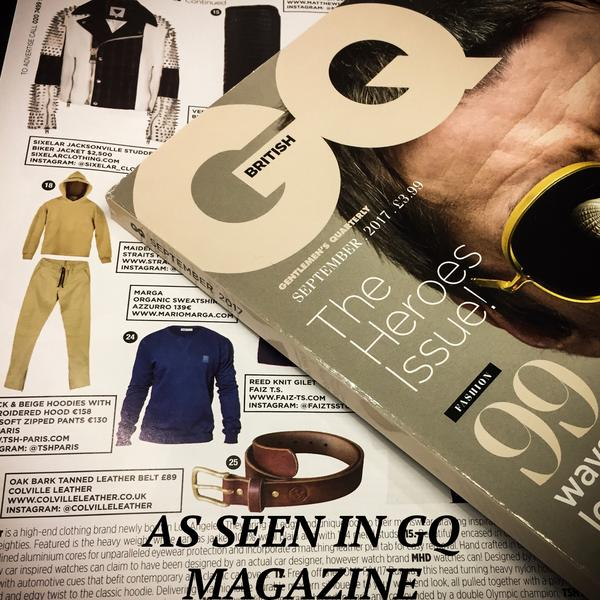 Image of GQ magazine from Sept 2017 featuring Colville Leather oak bark belt