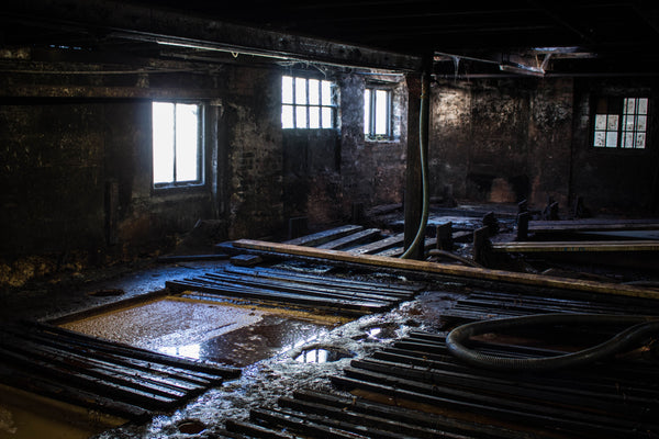 image of leather tanning process for a Devon tannery