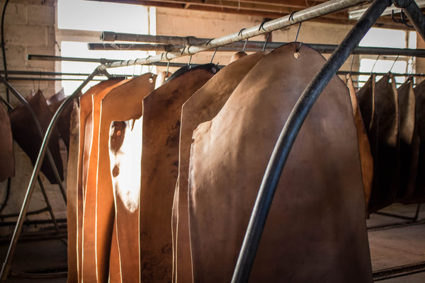 Image of tanned leather ready to be made into leather goods and accessories