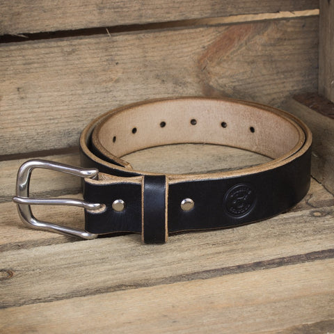 Image showing oak bark tanned leather belt in black from Colville Leather