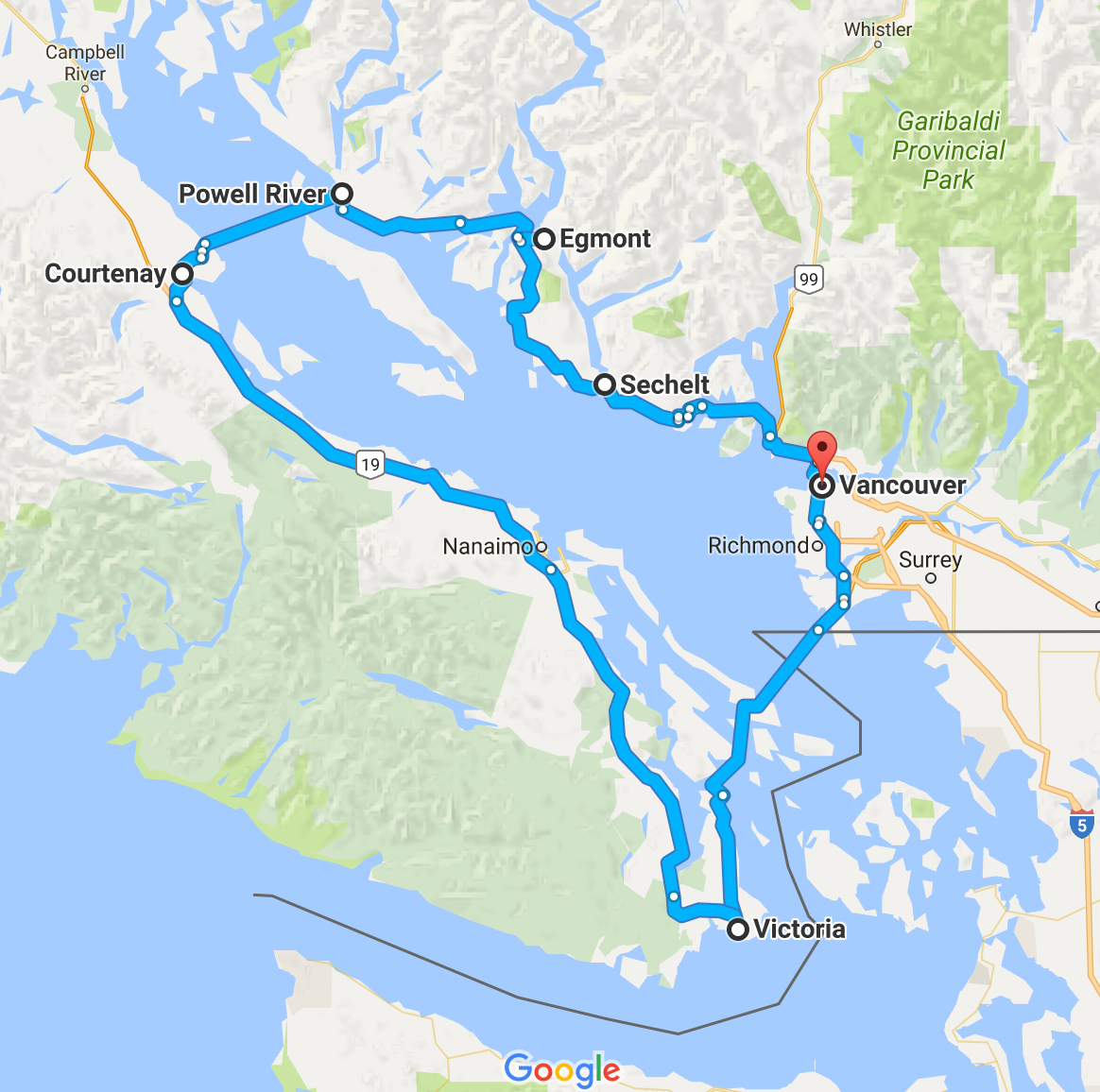 our route around Canada's east coast and Vancouver Island