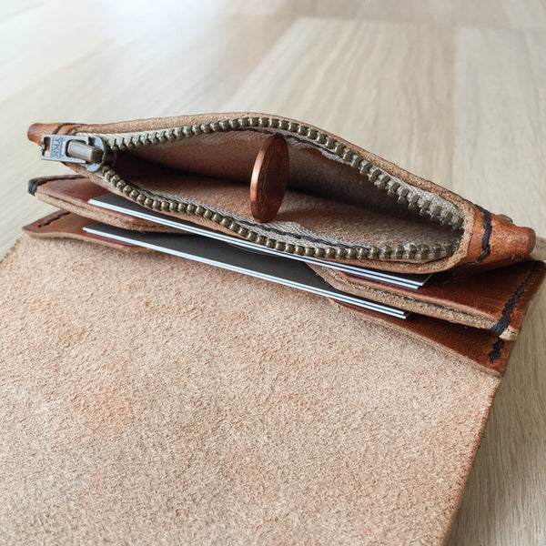 The inside of Colville Leather's handmade leather wallet, The Dart