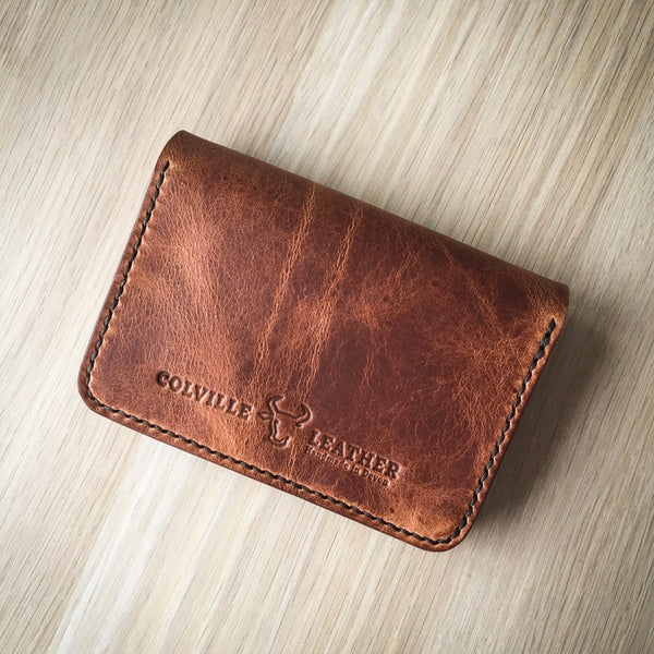 The back of Colville Leather's handmade leather wallet, The Dart