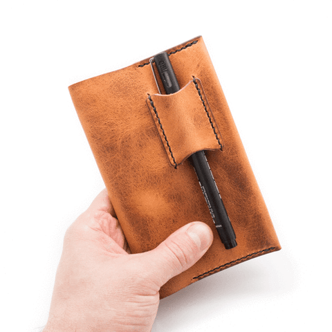 handcrafted leather notebook holder by Colville Leather