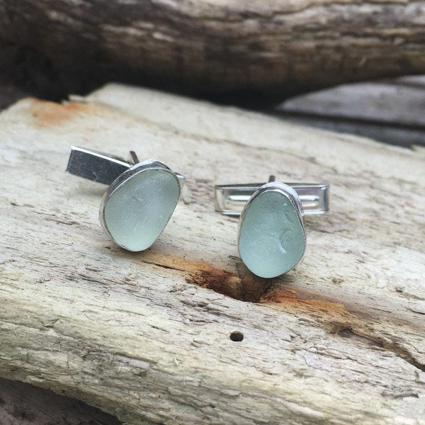 Sea Glass cufflinks from Beachcomber Jewellery