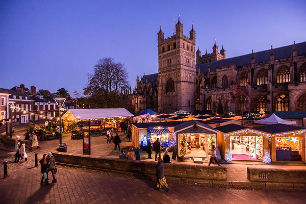 Image showing Exeter Christmas Market by Exeter Cathedral