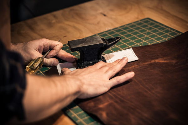 Image of Matt Nesbitt from Colville Leather handcrafting men's leather accessories
