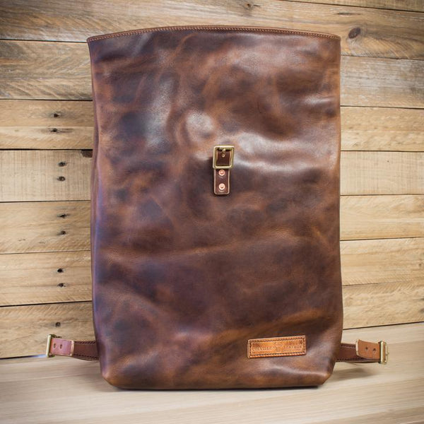 opened leather roll-top backpack from Colville Leather