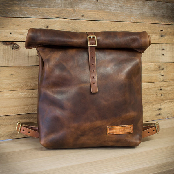 Image of the new handmade leather roll-top backpack from Colville Leather