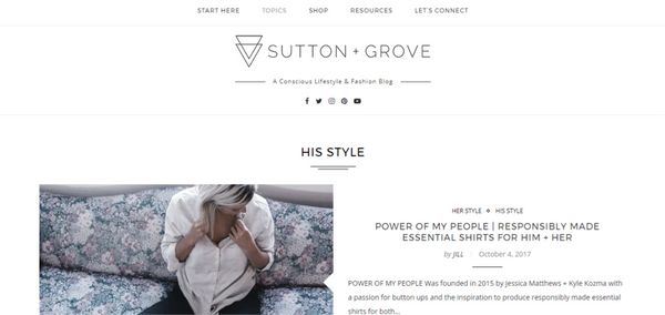 sutton and grove sustainable fashion blog for men screenshot