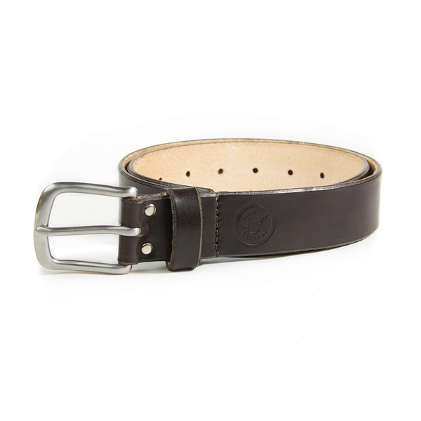 a chocolate coloured hand dyed leather belt from Colville Leather