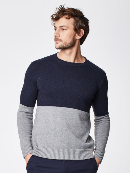 Image showing man modelling Kade Colour Block Jumper from Colville Leather's guide to men's winter accessories