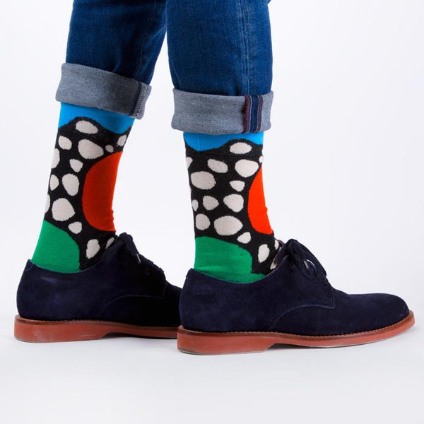 man wearing uk artisan fashion brand look mate socks