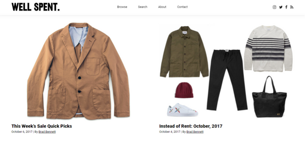 well spent sustainable fashion blog for men screenshot