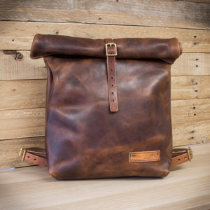 Roll Top leather backpack made from Horween Derby leather