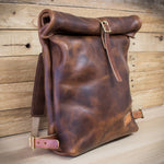 Side shot of Colville Leather roll top backpack made from Horween Derby Leather