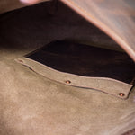 Internal pocket on the roll top backpack by Colville Leather
