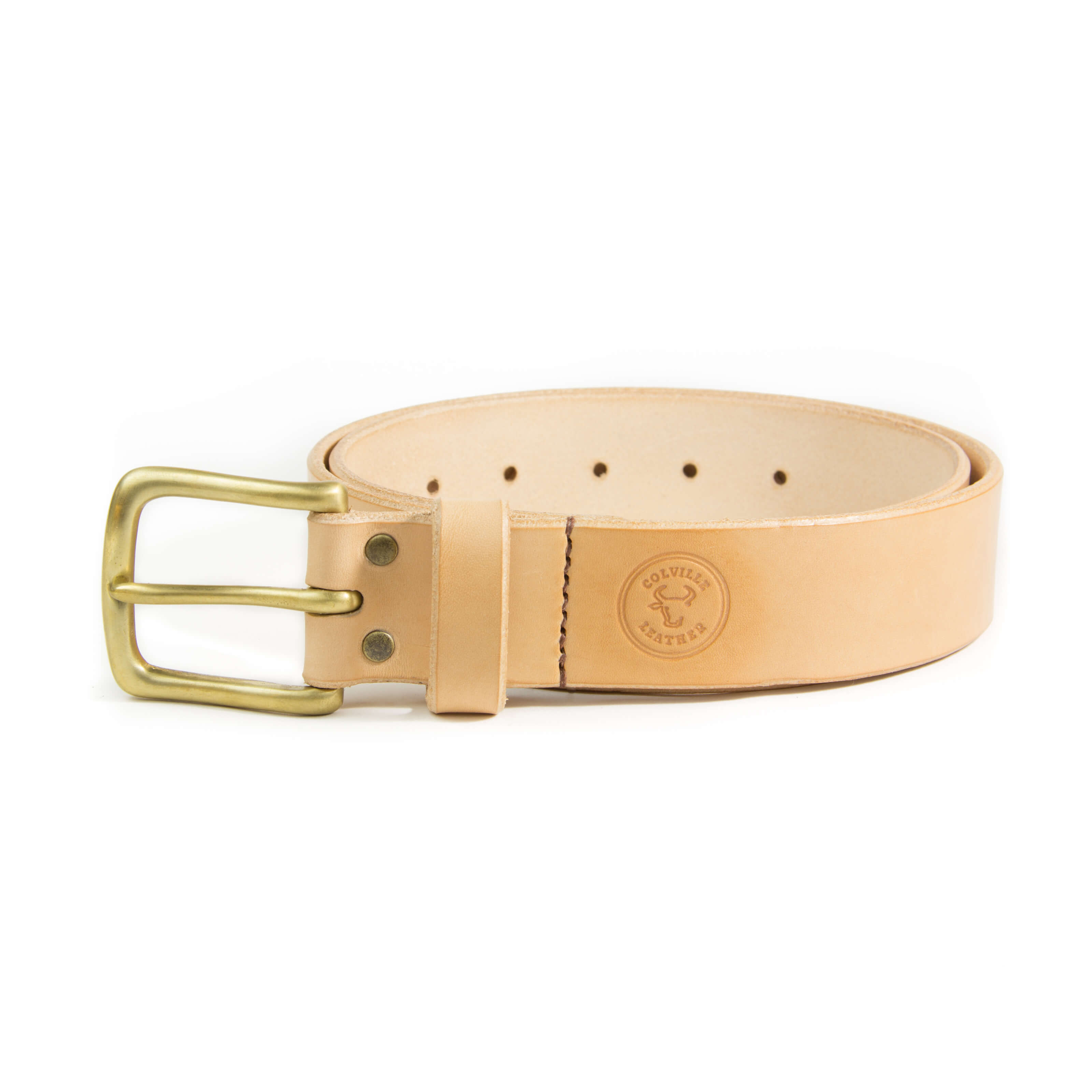 Handmade leather belt by Colville Leather. Natural