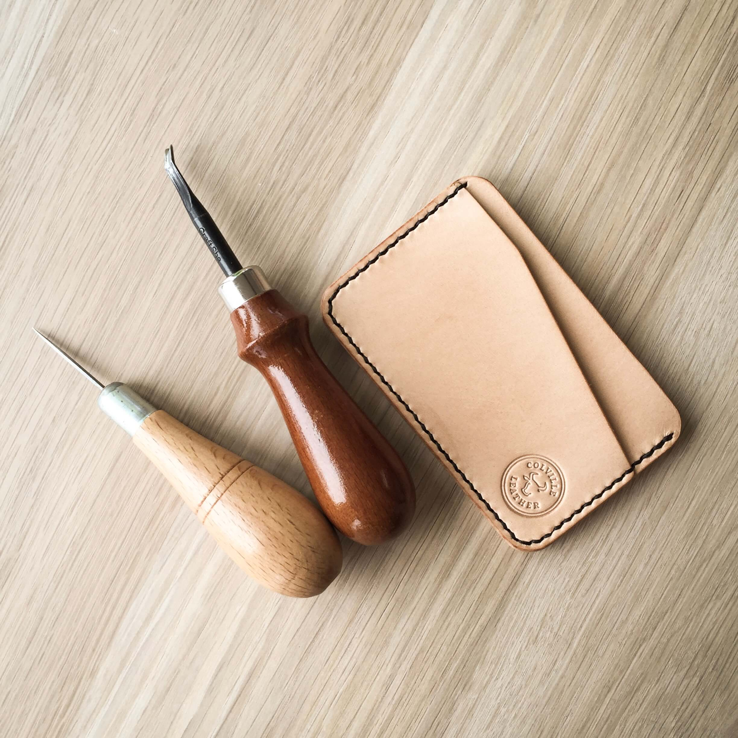 leather wallet in natural leather ready to patina