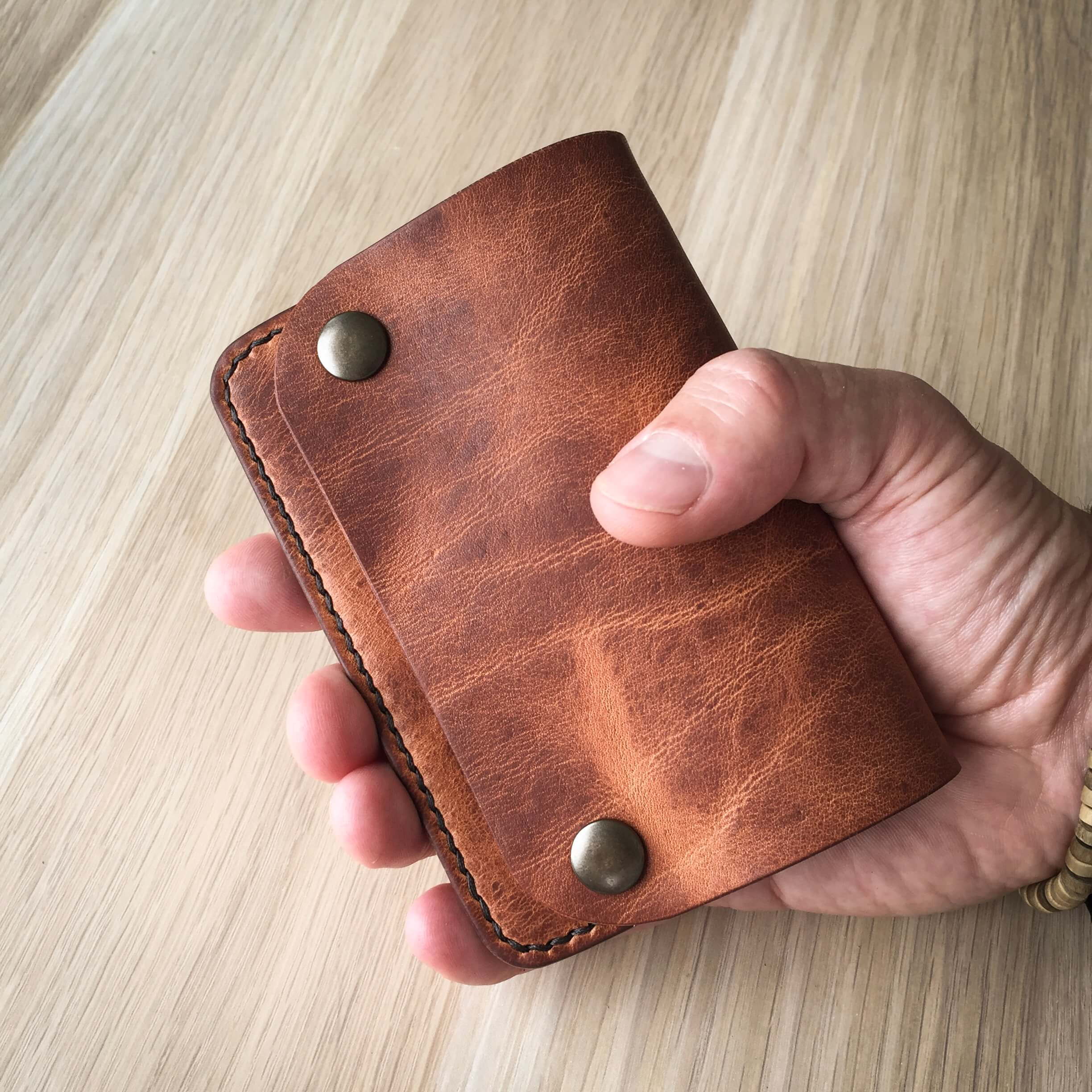 Leather purse made in Horween Derby leather English Tan